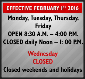 CHRWEC Offices will be closed every weekend and holidays.